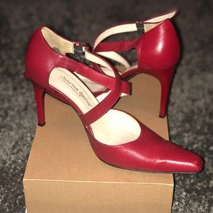 Charles David Shoes - Charles David red strap pumps #shesdarlin!